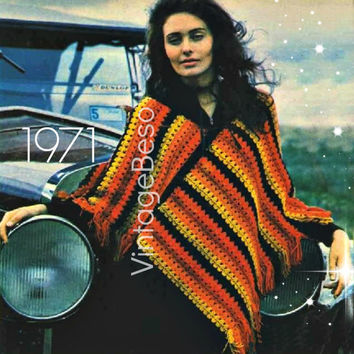 PONCHO Crochet Pattern Vintage 70s Crochet Fringe Shawl Pattern Crochet Wrap Afghan Pattern Bohemian Clothing-Pdf Pattern - INSTANT Download