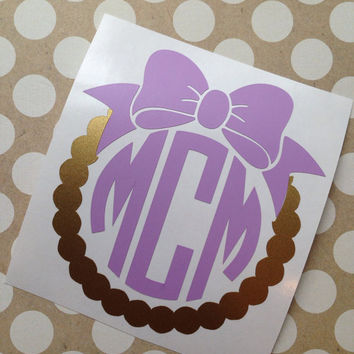 Scallop Bow Monogram | Vine Font Monogram | Traditional Font Monogram | Laptop Monogram | Notebook Monogram | Monogram | Car Monogram