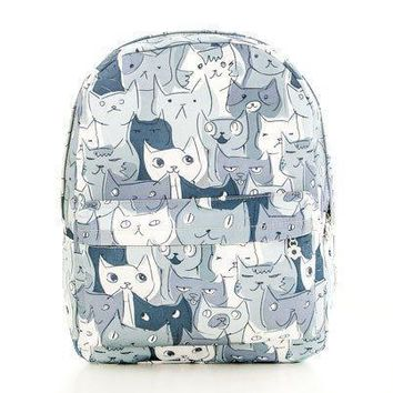 Adorable Kitty Cat All Over Print Gym Rucksack Backpack in Green or Grey