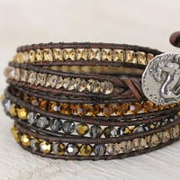 Crystal Wrap Horse Bracelet - Shades of Gold and Brown Crystals - 5 wrap - handmade by Christina Guenther