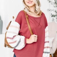 Abundant Maroon & Striped Sweater