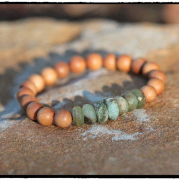 Faceted Green Peruvian Opals and Sandalwood Bead Stretch Bracelet, Yoga Mala,Throat Chakra Bracelet, Meditation Grounding Jewelry