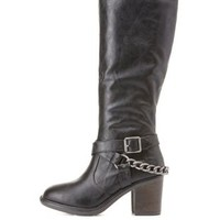 Black Belted Chain Harness Riding Boots by Charlotte Russe