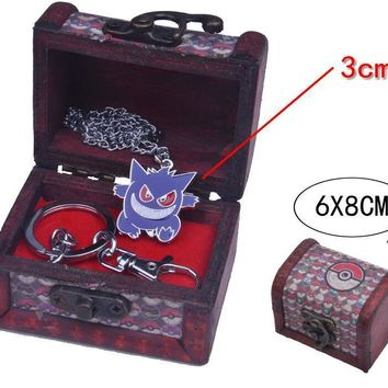 Fashion  Go Gengar Necklace Meatle Pantend With Wood Box GiftKawaii Pokemon go  AT_89_9