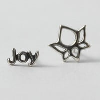 Joy and Lotus Earrings - Mix n' Match, Sterling silver, words and symbols Love, Joy, Peace and Fearless - Lotus, Heart and Diamond