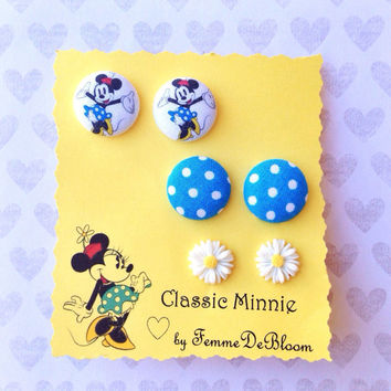 """Handmade """"Classic Minnie"""" Minnie Mouse Vintage Inspired Earring Set of 3 - Blue Polka Dots & Daisy earrings"""
