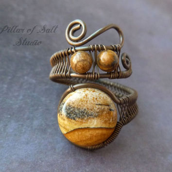 Wire wrapped ring / boho jewelry / earthy jewelry / wire wrapped jewelry handmade / copper jewelry / wire jewelry / Picture jasper gemstone