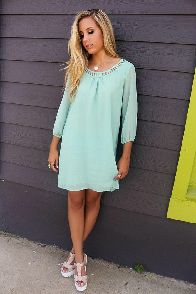 794edcee391 Downtown Sage Quarter Sleeve Chiffon Cut Out Neck Shift Dress
