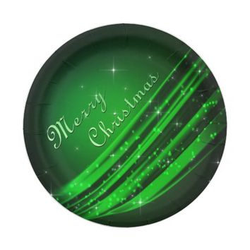 Green Merry Christmas Paper Plate