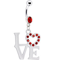 Ruby Red Gem LOVE CHARM Dangle Belly Ring | Body Candy Body Jewelry