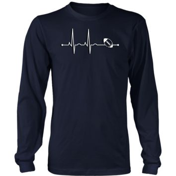 Men's Rugby Heartbeat Long Sleeve T-Shirt - Sports Gift