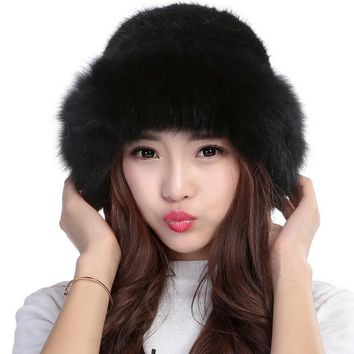 Valpeak Women Winter Fur Hat Female Real Knitted Mink Fur Hat Russian Warm Genuine Natural Mink Fur Beanie Hat with Fox Brim