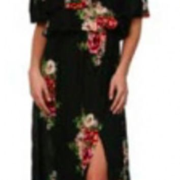Women's Off The Shoulder Floral Maxi Dress