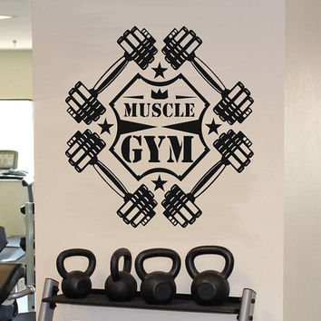 Workout Gym Wall Decal, Dumbbell Workout Wall Sticker, Garage Gym Wall Decor, Fitness Motivation Wall Decal, Gym Wall Mural Decal se095