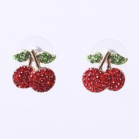 Red & Green Rhinestone Cherry Stem Post Earrings