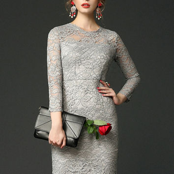 Grey Crochet lace Long Sleeve Midi Dress