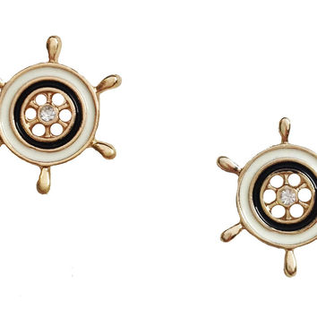 Nautical Ship Wheel Stud Earrings
