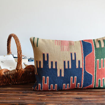 Decorative Turkish Kilim Pillow Cover - Kilim Lumbar pillow - Tribal Pillow Cover - Vintage Pillow Cover - Decorative Cushion Cover