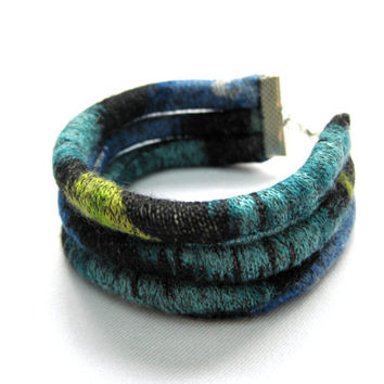 Fabric Cuff Bracelet Textile Bracelet Arm Candy Handmade Bracelet Fiber Art Jewelry Unique Bracelet Blue Green Teen Accessory Gift Idea