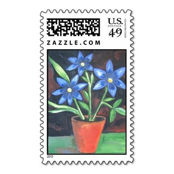 Blue Flowers Postage Stamps