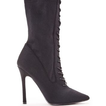 megan mckenna black pointed lace up heeled boots
