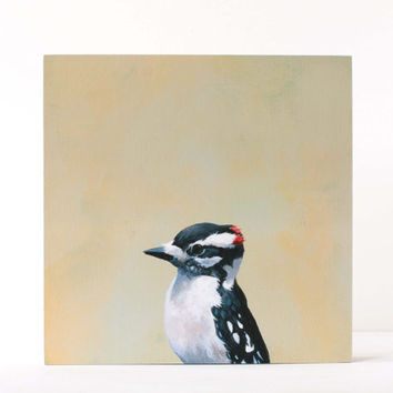 Downy Woodpecker - 8 x 8 Birch Panel Print
