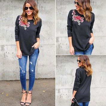 Women Lady Loose Long Sleeve Tops Blouse Shirt Casual Cotton Embroidered T-Shirt