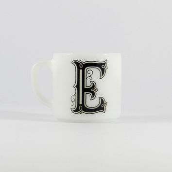 Vintage Federal Glass Monogram Mug, E Monogram, Black and White, Typography Cup, Vintage Kitchen