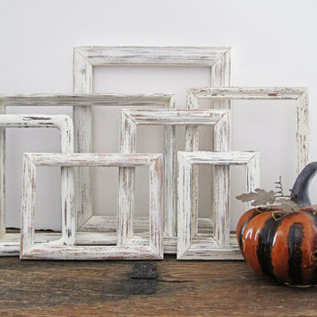White Picture Frame Set Of 7 Open/Empty Shabby Chic Wall Decor
