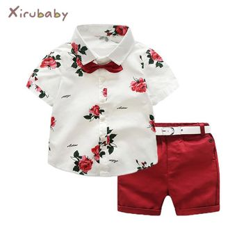 Xirubaby Summer Boys Clothing Sets Children Clothing Set Kids Boy Clothes Flower Tie Shirts+Shorts 2PCS Gentleman Suit With Tie