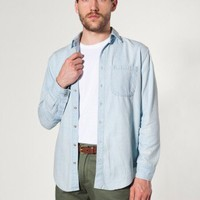 Denim Long Sleeve Button-Up Shirt | Denim | New & Now's Men | American Apparel