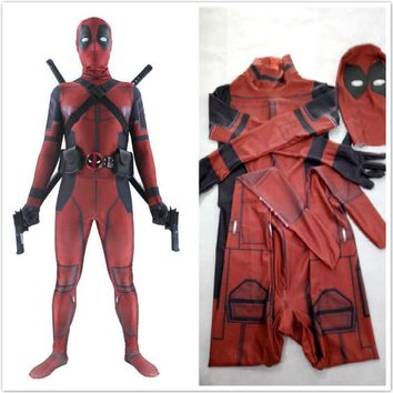 Deadpool Dead pool Taco Hot Marvel Halloween Cosplay Full Body  Cosplay Costume Man Marvel Adult Wade Wilson Spandex Lycra Nylon Zentai bodysuit AT_70_6