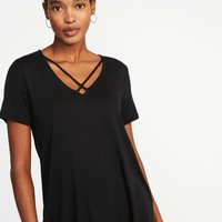 Lace-Up-Yoke Swing Top for Women |old-navy
