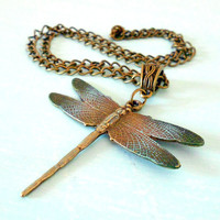 Dragonfly Autumn Woodland Fantasy Necklace in Antique Brass and Verdigris, Patina & Copper from Dryad Dreams