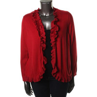 Charter Club Womens Plus Knit Open, No Collar Cardigan Sweater