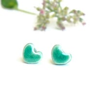 Mint Tiny Stud Earrings Heart Ear Post Ceramic Jewelry