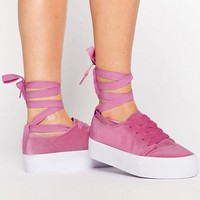 ASOS DENVER Velvet Tie Leg Trainers at asos.com
