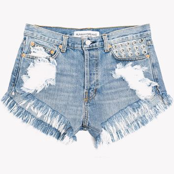 Eyelets Light Whiskered Studded High Waist Shorts