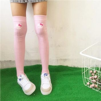 Cute Kitty Cat Embroidery Stretch Cotton Socks Stockings