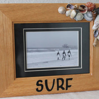 wooden frame, Surf, shells, black and white surfing photograph