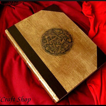 Book of Shadows PENTACLE and MOON - BIG size 31X22 cm ( 12,21x8.67 inch ) - wicca magic paganism witch mirror book diary journal
