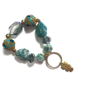 Beaded Charm Keyring - Keychain Stretch Bracelet Key Fob in Turquoise and Gold - Keychain Bracelet