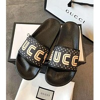 GUCCI Beach Stylish Women Men Casual Golden Letter Print Sandals Slippers Shoes Black