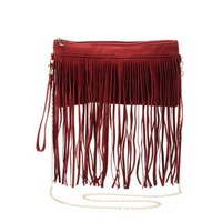 Red Chain Strap Fringe Cross-Body Bag by Charlotte Russe