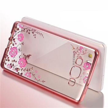 For Samsung Case Luxury Plating Secret Garden Flowers Rhinestone back Cover Phone Cases For Samsung A3 A5 A7 A8 A9 J3 J5 J7