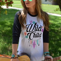 Wild Child Black Baseball Tee