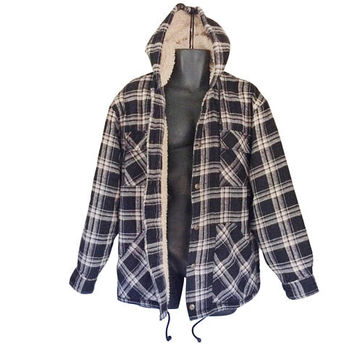 Hooded Flannel Sherpa Jacket Flannel Jacket Hooded Flannel Insulated Flannel Men Fall Jacket 90s Grunge Jacket Grunge Flannel Blue Flannel