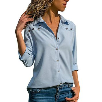 Rogi Autumn Women Long Sleeve Casual Blouse Button Down Blouses Shirt Elegant Ladies Tops Female Tunic Blusas Mujer de moda 2018