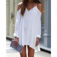 WHITE BACKLESS IRREGULAR DRESS