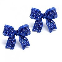 Fashion Crystal Pave Bow Ribbon Stud Earrings Blue:Amazon:Jewelry
